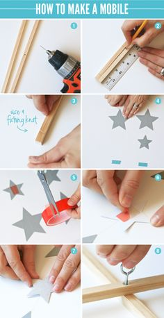 How to Make a Mobile- place the square dowels across a wooden hoop to help balance and use knitted stars.