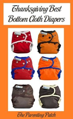 Recommended Best Bottom Diapers in colors perfect for Thanksgiving in red, orange, yellow, and brown.