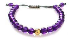 Amethyst 14K Gold Bead Shamballa Bracelet Asortis. $49.99. 6mm. 14k Yellow Gold Bead. Amethyst Grade A Beads. Gray Silk Cord. Save 29% Off!