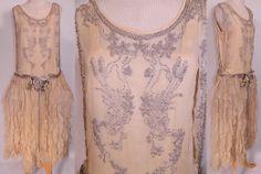 Vintage 1920s Robe de Style Cream Silk Silver Beaded Rosette Pannier Hoop Dress