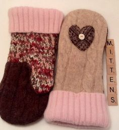 Wool Sweater Mittens  Warm Fleece Lined Upcycled by TreasuredHeart, $30.00