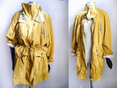 Vintage coat 80s 90s parka outdoors jacket Mid Lenght Yellow Ocre Lined Puffer Coat Windbracker lined mustard leaf green jacket puffy jacket by SuitcaseInBerlin on Etsy