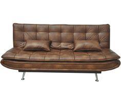 Gemütliches Schlafsofa in Vintage Braun mit Metallfüßen. Das Modell bietet in Handumdrehen einen bequemen Schlafplatz und ist noch dazu ein optisches Highlight!