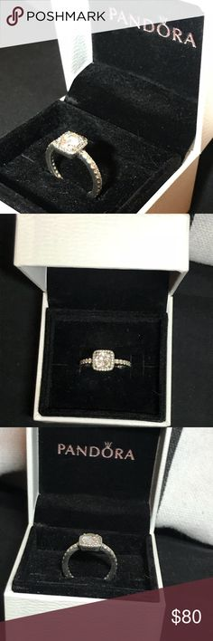 Pandora Silver Sterling Promise Ring Pandora Timeless Elegance Ring, Clear CZ. Size 4.5. It's barely been worn, and has been taken to the cleaners. It looks brand new, and if you have any questions let me know, i will give you my contact info. $80 or best offer! Thanks!! (: Pandora Jewelry Rings
