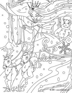 The Snow Queen tale coloring page. This The Snow Queen tale coloring page is very popular among the Hellokids fans. New coloring pages added all the time . New Year Coloring Pages, Fairy Coloring Pages, Cool Coloring Pages, Christmas Coloring Pages, Coloring Pages For Kids, Coloring Books, Kids Coloring, Andersen's Fairy Tales, Snow Fairy