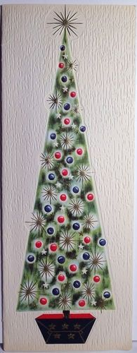 Vintage Christmas card. - this is a card and not a quilt but what a great idea for a quilt and simple too if you have christmas tree fabric