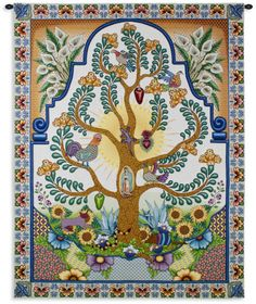 """""""Arboles de la Vida Tapestry Throw"""" A tribute to Latin culture and the tree of life that springs eternal. Done in a talavera style this piece is embedded with symbolism and cultural symbols including Tapestry Weaving, Tapestry Wall Hanging, Wall Hangings, Framed Artwork, Wall Art, World Cultures, Tree Of Life, Find Art, Vintage World Maps"""