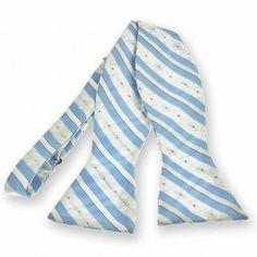 Sky Blue Anna Floral Stripe Self-Tie Bow Tie