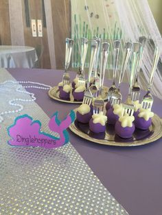 Little mermaid cake pops on forks. Dinglehoppers