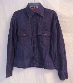 Vintage 1970s Sears Kings Road Mens Cropped Blue Denim Jean Jacket sz M 15-15.5 #Sears
