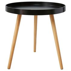 Round Side Tray Table   Black