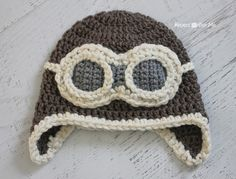Crochet Aviator Hat Pattern - Repeat Crafter Me Bonnet Crochet, Crochet Cap, Crochet Baby Hats, Crochet Beanie, Free Crochet, Crochet Monster Hat, Ravelry Crochet, Baby Hat Patterns, Baby Knitting Patterns