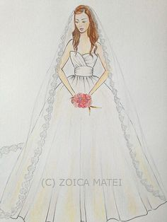 Custom wedding dress with veil illustration original by Zoia, $65.00
