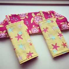 Ready to Ship Ergo 360 Strap Covers and Bib - Swimmin' in the Sea Turtles and Starfish on Yellow - Reversible - Drool Bib Set by SewSugarPie on Etsy