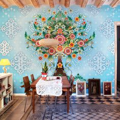 """from sfgirlby bay - """"the enchanting, colorful world of designer Catalina Estrada is coming to life in her new wallpaper collection from Coordonné"""". Grand Poster Mural, Her Wallpaper, Amazing Wallpaper, Colorful Wallpaper, Wallpaper Murals, Nature Wallpaper, Modern Wallpaper, Unusual Wallpaper, Turquoise Wallpaper"""