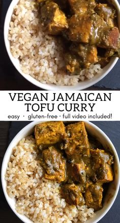 With only a few simple ingredients you can make this delicious vegan Jamaican tofu curry. It's also gluten-free and super quick to make. It's filled with flavourful Jamaican and Indian spices. Serve w Jamaican Dishes, Jamaican Recipes, Curry Recipes, Easy Vegan Dinner, Vegan Dinner Recipes, Vegetarian Recipes, Tofu Indian Recipes, Recipes With Tofu, Vegan Soul Food Recipes