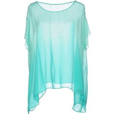 Guess Blouse (100 CAD) ❤ liked on Polyvore featuring tops, blouses, light green, blue blouse, guess blouse, short sleeve tops, blue top and guess? tops