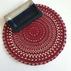 Burgundy crochet centerpiece doily, Round table toppers, Doily placemats, Handmade crochet table decor, Gift for mom from daughter Handmade Table, Handmade Home Decor, Handmade Gifts, Lace Doilies, Crochet Doilies, Cotton Crochet, Gifts For Friends, Gifts For Mom, Natural Placemats