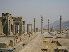 """Persepolis - Shiraz – Iran - Persepolis literally meaning """"city of Persians"""", was the ceremonial capital of the Achaemenid Empire (ca. 550–330 BCE). Persepolis is situated northeast of city of Shiraz in Fars Province in Iran. The earliest remains of Persepolis date back to 515 BCE. It exemplifies the Achaemenid style of architecture."""