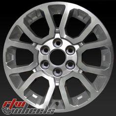 """GMC Sierra wheels for sale 2014. 18"""" Machined Silver rims 5649 - https://www.rtwwheels.com/store/shop/gmc-sierra-wheels-for-sale-machined-silver-5649/"""