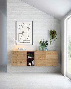 Aparador colgado moderno en roble nudoso y burdeos mate. Floating Cabinets, Clinic Design, Floating Nightstand, Entrance, Modern Design, Wall Decor, House Design, Living Room, Interior Design