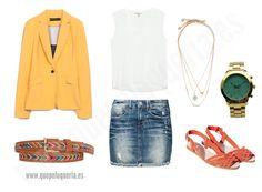 **LOOK YELLOW BRIGHT** Blazer: Zara Woman 2014 / Cinturón: Pimkie 2014 / Camiseta: Zara Woman 2014 / Falda: G-Star / Collares: Pull & Bear 2014 / Cangrejeras: Zara Woman 2014 / Reloj: AdelitaAdelita