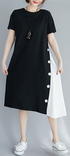 Handmade black patchwork white clothes For Women o neck A Line Dresses Summer Dress Outfits, Casual Summer Dresses, White Outfits, Summer Dresses For Women, Stylish Outfits, Summer Maxi, Summer Clothes, Fashion Drawing Dresses, Women's Fashion Dresses