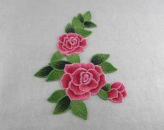 Flor de parches bordados apliques parches Floral rosa