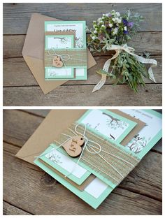 Rustic Wedding Invitation: mint green with prints, featuring burlap tie, wooden tags and the Kraft envelope.
