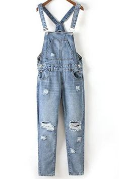 ripped denim overall. Blue Overalls, Overalls Women, Ripped Denim, Dungarees, Blue Jumpsuits, Jumpsuits For Women, Overalls Vintage, Suspender Pants, Kids Fashion