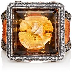 Sevan Biçakçi Women's Oyster Shell Intaglio Ring (€16.085) ❤ liked on Polyvore featuring jewelry, rings, orange, 24 karat gold ring, square ring, engraved jewelry, gypsy ring and 24k ring