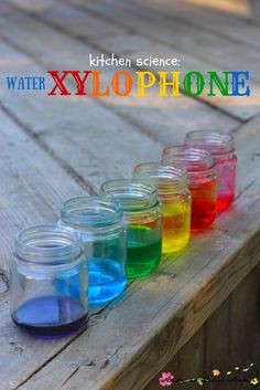 Kids Kitchen Science: Water Xylophone experiment - mixing water and science for a colourful sensory activity for kids!:
