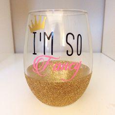 I'm So Fancy // Stemless Wine Glass // Bachelorette Wine Glass // Bride Wine Glass // Wedding Party Wine Glass // Glitter Dipped Wine Glass by TwinkleTwinkleLilJar on Etsy https://www.etsy.com/listing/216309881/im-so-fancy-stemless-wine-glass