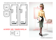 Fashion designer Silkstone Barbie doll skirt pattern A4 SIZE - EUROPE & SOUTH AMERICA. (Falda de la Fashion Designer Silkstone Barbie TAMAÑO A4 PARA EUROPA Y SUDAMÉRICA)