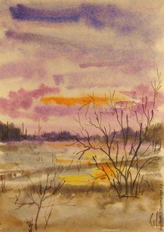Купить Завтра выпадет снег. - акварель, акварельная живопись, пейзаж, пейзаж акварелью, осень