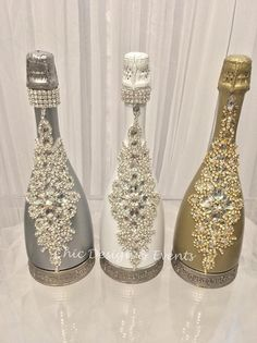 Crystallized Custom Champagne Bottle by chicdesignandevents