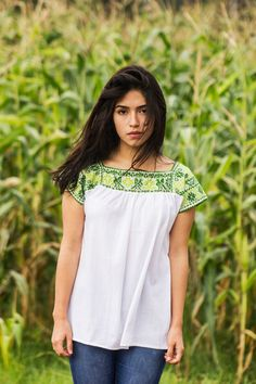 Green Embroidered Mexican Blouse Shirt by Nantzi on Etsy https://www.etsy.com/listing/169767304/green-embroidered-mexican-blouse-shirt