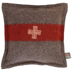 """""""Travel to the Alps with our Swiss Army blanket accent pillows. Each one is handcrafted from vintage Swiss Army blankets. We love pairing these on a leather armchair or tossed on the bed with one of our Swiss Army blankets. Bring home some Alpine style. Each is unique. Made in Switzerland. Color: As shown Size: 13"""" x 13"""""""