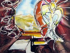 Opstandelse Painting Process, Pictures To Paint, Vibrant Colors, Watercolor, Landscape, Nature, Inspiration, Art, Pen And Wash