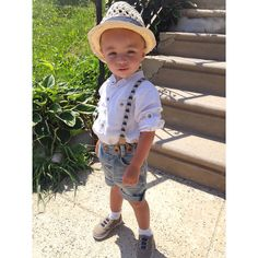 Spring/Summer Style : Fedora's for boys, h&m denim shorts with suspenders, old navy shoes
