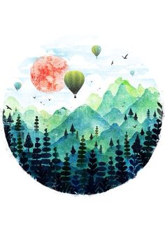 Roundscape by fil gouvea // art // drawing // inspiration // illustration // artsy // sketch Art Inspo, Painting Inspiration, Poetry Inspiration, Bullet Journal Inspiration, Life Inspiration, Art And Illustration, Balloon Illustration, Watercolor Illustration, Art Design
