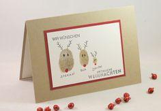www.zeit-zum-basteln.de - Persönliche Weihnachtsgrüße mit Fingerabdrücken