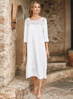 Our breezy white pima jersey nightgown is embellished with floral crochetwork at the yoke.