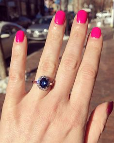 Colored stones are trending as engagement rings! Estate Engagement Ring, Diamond Cluster Ring, Class Ring, Sapphire, Stones, Color, Jewelry, Trillion Engagement Ring, Colour