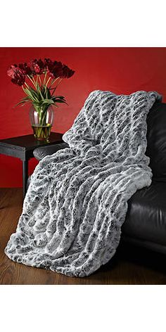 Frosted Grey Mink Faux Fur Couture Throw Blankets | Fabulous Furs