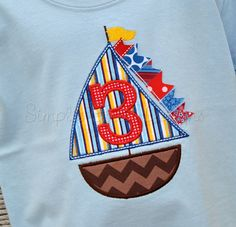Custom personalized sailboat birthday by Simplie Girlie Designs. Can change any colors to fit your theme!