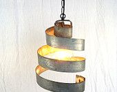Wine Barrel Ring Hanging Pendant Light - Large Open -100% RECYCLED from Napa Wine Barrels
