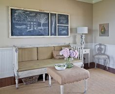 A great idea for the artist, take an old door, paint it with chalk board paint and draw in chalk and change as you wish.  Brilliant.