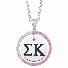 """#SigmaKappa CZ Circle Sterling Necklace (Chain Length is 16"""" with a 2"""" Extender) $99.00 Available at ANDREW GALLAGHER JEWELERS, NEWARK, DELAWARE (302) 368-3380"""