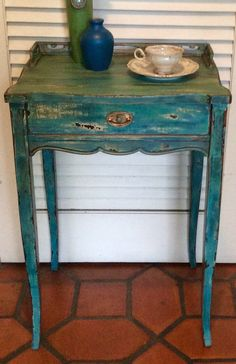 Blue Vintage Nightstand 1940s by RevisitedConcepts on Etsy